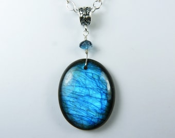 Labradorite Necklace, Large Labradorite Pendant, Rich and Vibrant Blue and Teal Flash, Faceted AAA London Blue Topaz, Sterling Silver