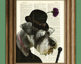 Lars the SCHNAUZER in a hat dog beautifully upcycled vintage dictionary page book art print