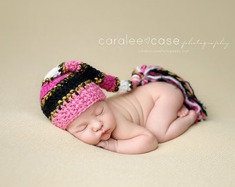NEW ITEM! Elf Hat in Pink, Black, and Gold with Fringe Tail