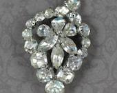 Vintage Clear Rhinestone Silver Leaf Brooch