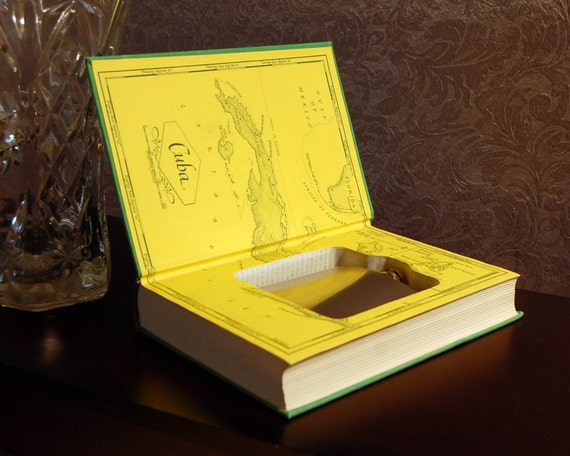 Hollow Book Safe & Flask (Vintage 1970 Hemingway's Islands in the Stream)
