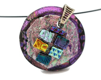 Fused Glass Pendant/Dichroic Pendant/Fused Glass Necklace/Purple and Pink/Large Pendant