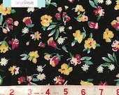 LAST YARD, Black Floral Fabric, 1 yard