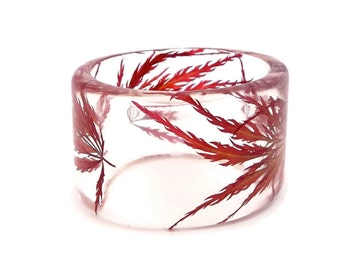 Size Small Japanese Maple Resin Bracelet.    Lace Leaf Japanese Maple Leaves. Engraved Gift Resin Jewelry.  Real Flowers Resin Bangle