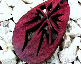 Cross Pendant / Burst Design / Exotic Purple Heart Wood