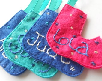 Beautiful personalised hand sewn felt stockings (any colour available)