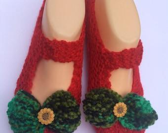Slipper Socks  - Christmas Bows