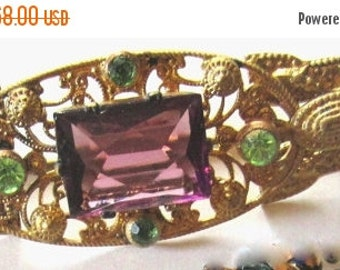 Fall into Vintage SALE Stunning Vintage Art Deco Purple and Green Czech Glass Vintage Brooch Art Deco Jewelry