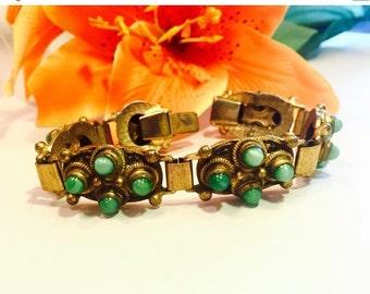 Scorpio Birthday SALE Beautiful Czech Art Nouveau Brass Green Peeking Glass Vintage Bracelet Art Nouveau Jewelry