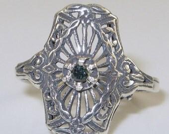 Valentines Lovers SALE SALE Art Deco RARE Green Diamond Sterling Silver Filigree Vintage Ring