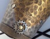Industrial beaten metal Leather Bracer
