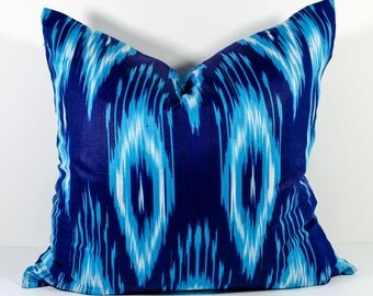 20x20, blue indigo cotton ikat pillow cover, ikat pillows, ikats, blue pillow, blue ikats, blue ikat pillows, ikat design, uzbek ikat
