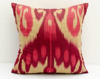 "13x13"" red cream burgundy ikat pillow covers, ikat pillow, red cushion, case, cotton pillow cover, decorative pillow, burgundy pillows, ikat"