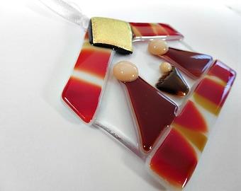 Orange and red Fused Glass Nativity/ Suncatcher/ Ornament/ Keepsake