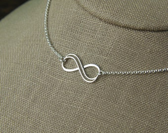 Small double wire infinity necklace in sterling silver, infinity knot, infinity symbol, bridal jewelry, sterling silver necklace, valentine