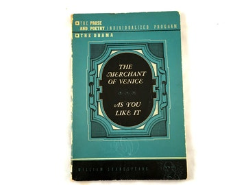 1942 Merchant of Venice & As You Like It. William Shakespeare. L.W. Singer Company. Vintage Shakespeare. Blue Softcover Shakespeare Book