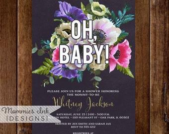 Watercolor Anemone Invitation, Oh Baby Invitation, Floral Watercolor Invitation, Pink and Purple Invitation, Baby Shower Invitation