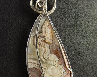 Crazy Lace Agate Pendant in Silver