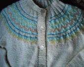 FREE SHIPPING Vintage Beige Fair Isle Handmade Knitted Sweater