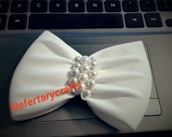 Custom made Bridal Hair Bow / any color with hand sewn pearls and gemstomes / Bow Tie / Hair Barrette Clip / no glue Hair Piece Accessory