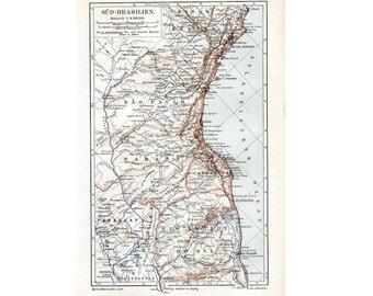 1894 ANTIQUE BRAZIL MAP original antique lithograph south america