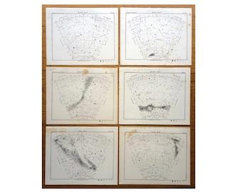 STAR MAP LITHOGRAPHS - 1892 set of 6 south star map arcs original antique celestial astronomy prints southern sky