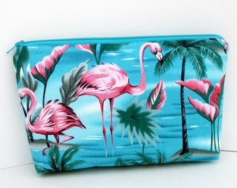 Flamingo Paradise, Make-up Bag, Cosmetic Zipper Pouch