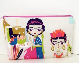 Zippered Make Up Bag, Mexican Artist Frida, Esperanza Doll, Alexander Henry Fabric