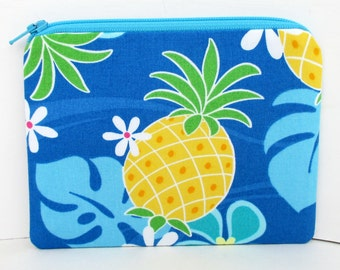 Small Zippered Pouch Bag, Hawaiian Pineapple,  Blue Hibiscus Flowers, Change Purse