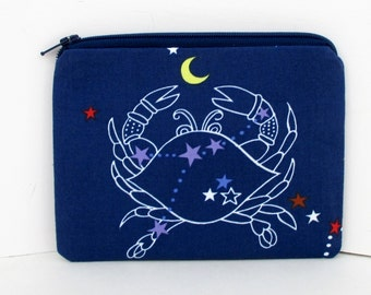 Crab Constellation, Small Zippered Pouch Bag, Change Purse