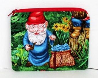 Blueberry Gnome, Small Zipper Pouch, Coin Purse