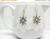 SALE Silver Snowflake Earrings - White Frost Snowflake Earrings - 4 Styles - Holiday Earrings - Christmas Jewelry - Stocking Stuffers - Gift