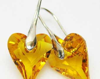 CIJ SALE Yellow Swarovski Crystal Earrings - Crystal Jewelry - Heart Earrings - More Colors Available - Gift For Her - Simple Earrings -
