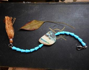 Breya. Fire Agate Turquoise Howlite & Silk tassel bohochic gypsy bracelet