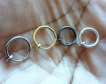 1 - FAKE Stainless Steel hoop (nose, septum, ear and lip)