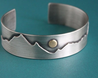 Mens Mountain Cuff, Mens Silver Bracelet, Nature Jewelry