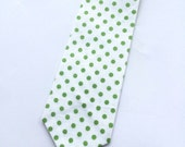 Little Guy Holiday NECKTIE Tie - White with Green Dot - (2T-4T) - Boy - (Ready to Ship) St Patrick's Day