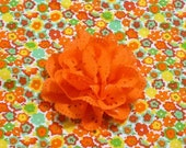 "Custom for Julie - Tiny Orange Petunias Dog Scrunchie Collar with orange eyelet flower - XS: 10"" to 12"" neck"