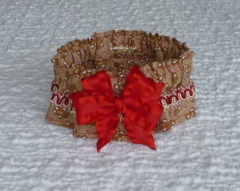 """Gingerbread Dog Scrunchie Collar - braid and bow - M - 14"""" to 16"""" neck"""