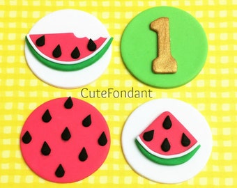 12 Watermelon fondant cupcake toppers
