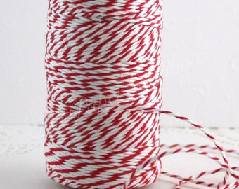 Red & White Baker's Twine, Bakers Twine, Red Twine, 10 yd., Cotton Twine, Gift Wrapping, Christmas Ribbon, Party Supplies, Jewelry Supplies