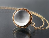 Antique Pool of Light Locket | Rock Crystal Locket | Victorian Locket | Crystal Ball Quartz Crystal & Rolled Gold |  24 Inch Chain Included
