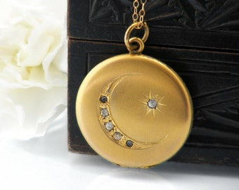 Victorian Locket | Moon & Stars Locket | Antique Matte Gold Locket Necklace | Round Bloomed Gold Photo Locket - 20 Inch Chain Included