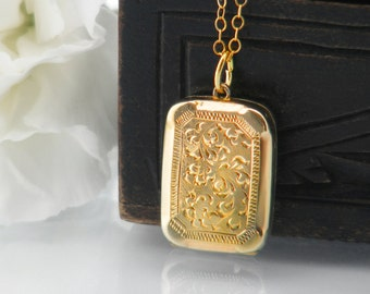 Antique Gold Locket | Petite Gold Edwardian Locket | 9ct Gold Front & Back Wedding Locket | Gold Rectangle Locket - 18 Inch Chain Included