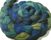 Polwarth & tussah silk hand dyed roving 4.8 oz Waterlily - hand painted spinning and felting fiber - wool combed top - green aqua fiber