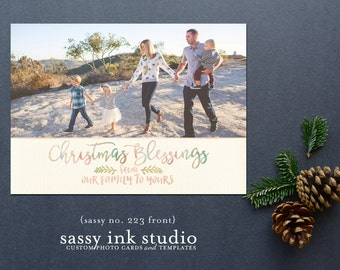 Christmas Photo Card - Printable Holiday Card - Christmas Card - Christmas Blessings - Customized holiday card (no. 223)