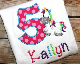 Personalized Rainbow Unicorn Birthday Shirt Number
