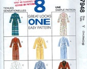 1990's McCall's Pattern 7948 of a Loose Fitting Bath Robe with Shawl Collar in Two Lengths