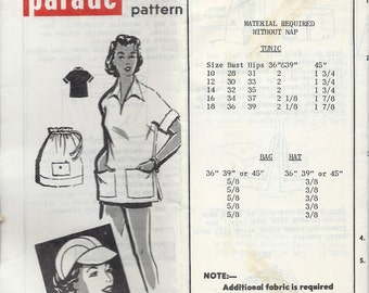 """1950's Mail Order Pattern , Patterns by Pauline for Parade No. 433 - Pullover Tunic , Hat and Bag  Bust 30"""""""