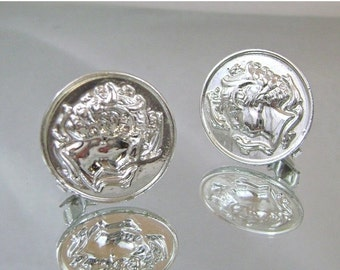 FALL SALE Vintage Earrings Sarah Coventry  Water Nymph Arethusa Greek Coin Silver